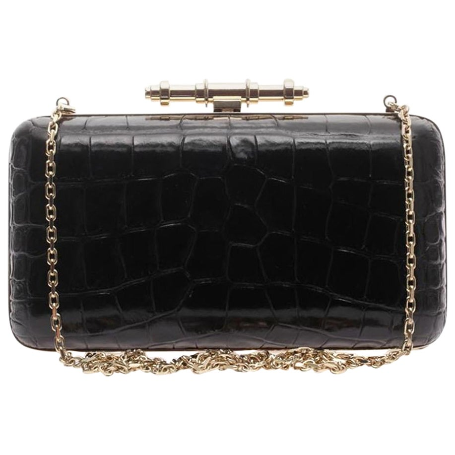 Givenchy Obsedia Croc Effect Leather Box Clutch