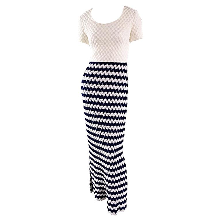 Vintage I. Magnin Navy Blue + White Crochet Nautical Striped Maxi Designer Dress For Sale