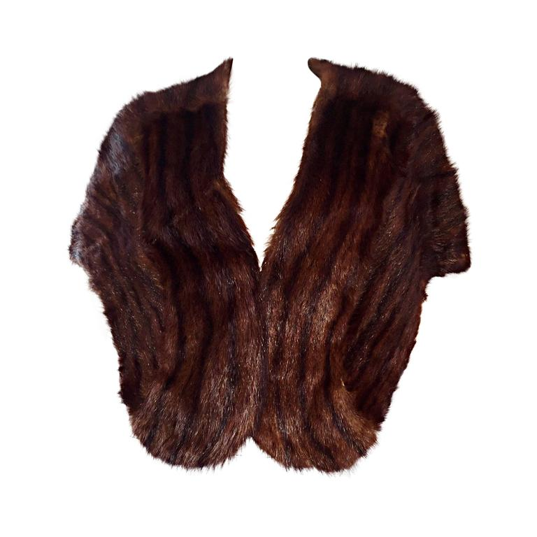 Beautiful 1950s 50s Vintage Beaver Fur Brown Shawl Stole