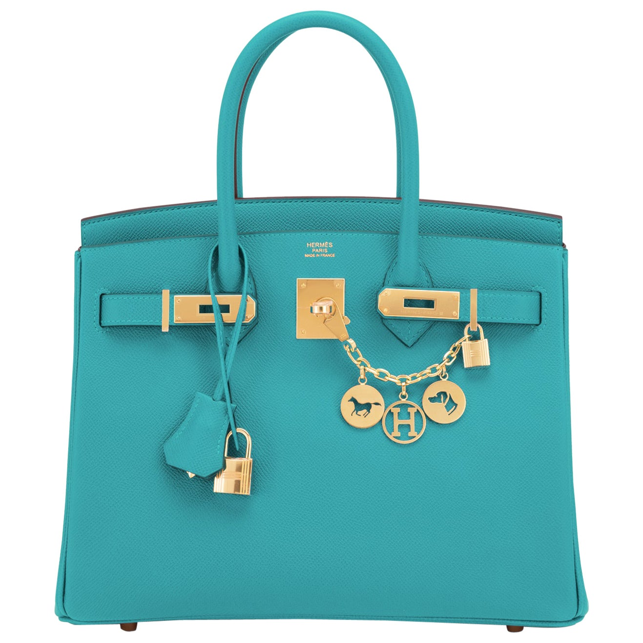 Hermes Birkin 30 Blue Paon Turquoise Peacock Jewel Epsom Gold Bag Y Stamp, 2020