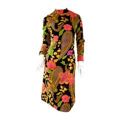 1960s 60s Psychedelic Flowers + Paisley Colorful Print Mod Retro A - Line Dress