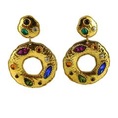 Edouard Rambaud Vintage Massive Runway Jewelled Dangling Hoop Earrings