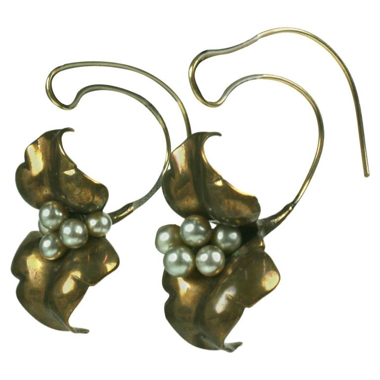 Unusual Artisan Cala Lily Earrings For Sale