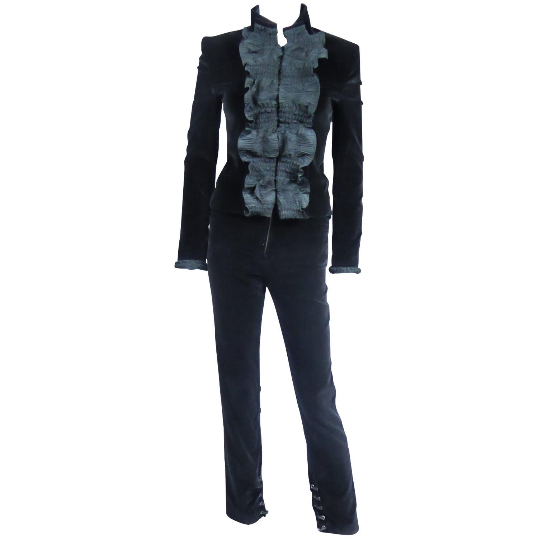 An Yves Saint Laurent Rive Gauche Velvet And Taffeta Tuxedo Pant Suit Circa 2004