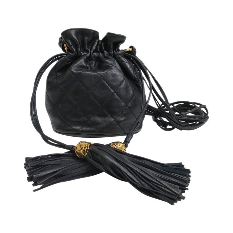 1d910824f530 Chanel Vintage Black Lambskin Leather Mini Drawstring Bucket Crossbody Bag  For Sale