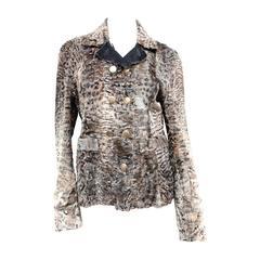 Salvatore Ferragamo Persian Lamb Fur Ash Gray Leather Jacket
