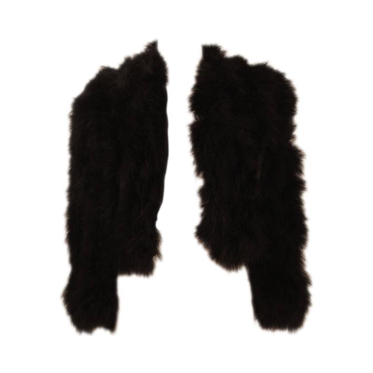 Zandra Rhodes Black Marabou Cropped Jacket