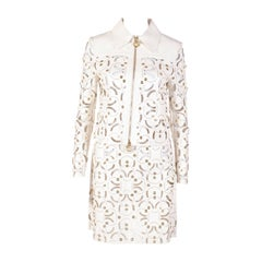 S/S 15 look#25 VERSACE WHITE LASER CUT LEATHER JACKET SKIRT SUIT as seen on Katy