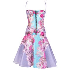 Versace Lilac Floral Raffia Corset Dress with Flounce Skirt