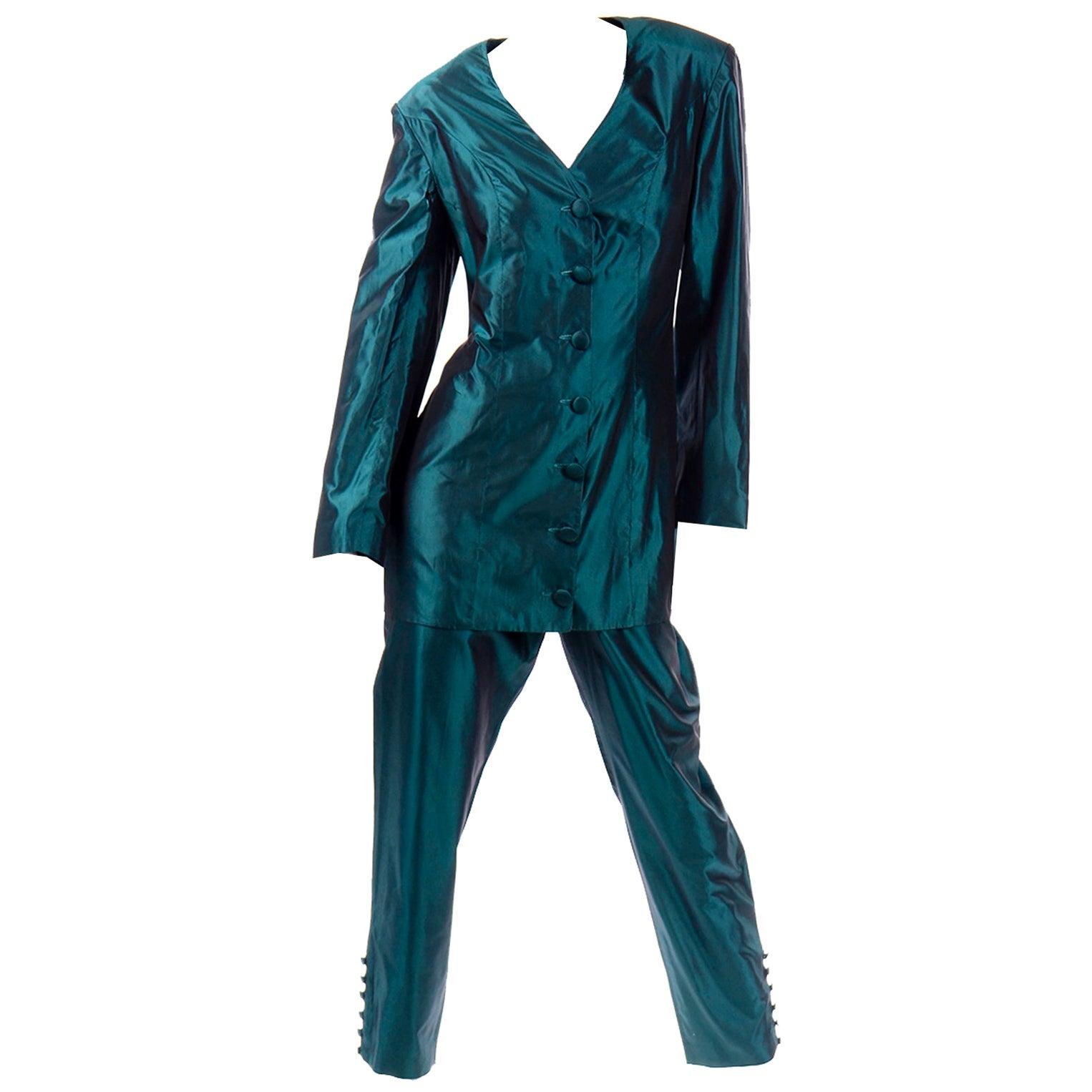 Circolare Maurizio Galante Designed Green Silk Dress Alternative Pantsuit