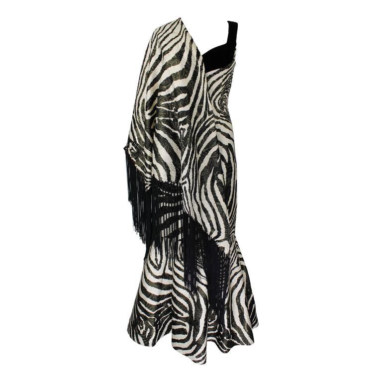 1980s Scaasi Metallic Zebra Fishtail Gown with Fringe Wrap 1