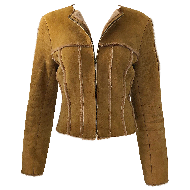 Vintage Chanel 1999 Tan Suede Sheepskin Fur Size 38 Brown Cropped 90s Jacket