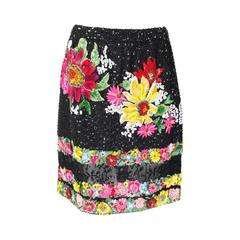 1990s Valentino Floral Embroidered and Bead Embellished Evening Skirt