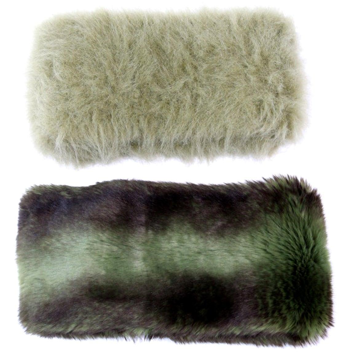 Pelush Faux Fur Scarfs set - Fake Fur Green Chinchilla Neck Warmer/Hats One size