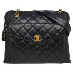 Chanel Vintage Black Quilted Caviar Leather Shoulder Bag with Gold Hardware