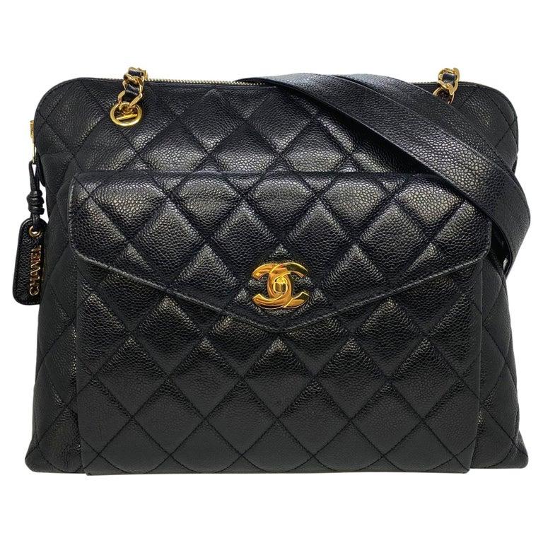 Chanel Vintage Black Quilted Caviar Leather Shoulder Bag with Gold Hardware For Sale