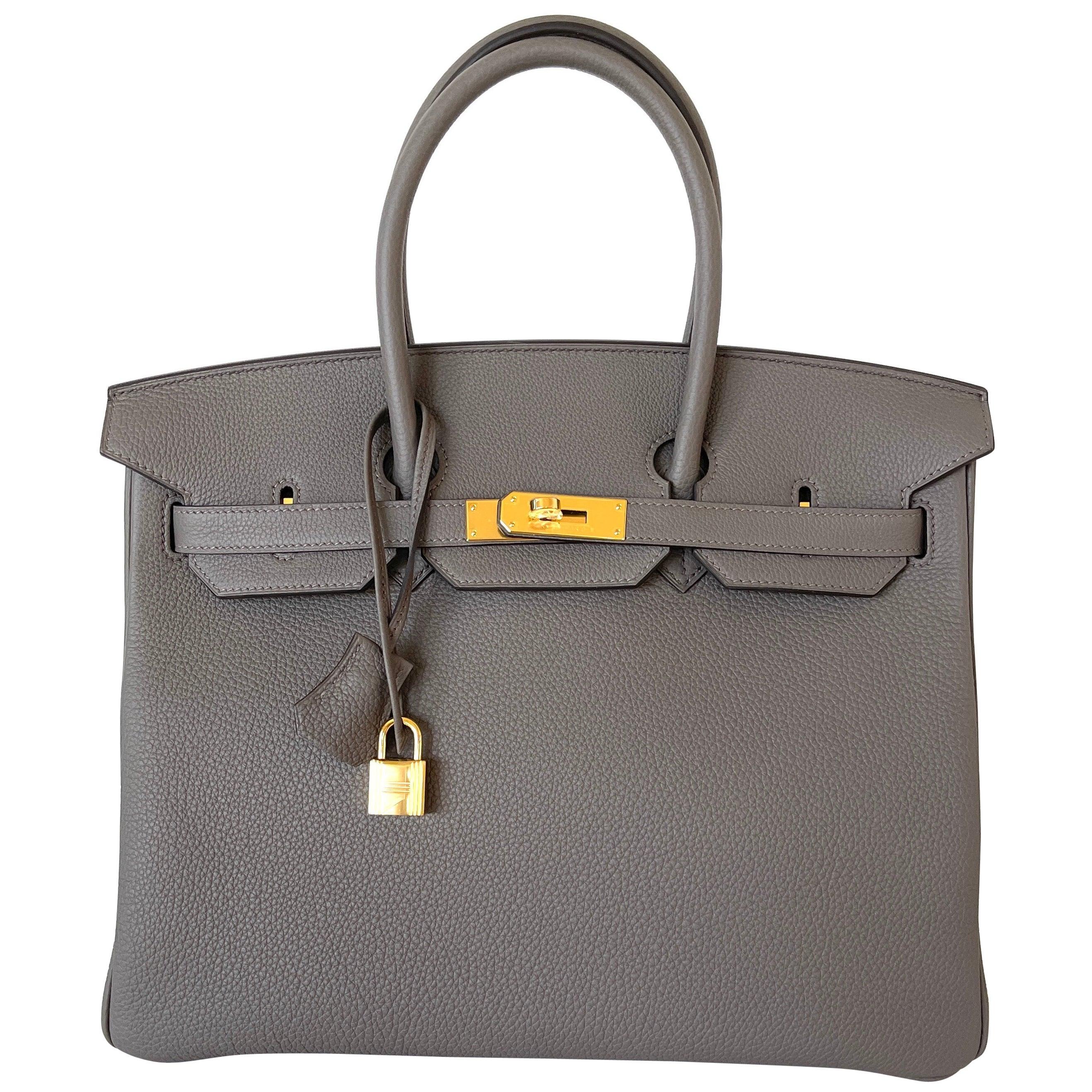 Hermes Etain Togo Tin Grey 35cm Birkin Gold Hardware GHW NEW