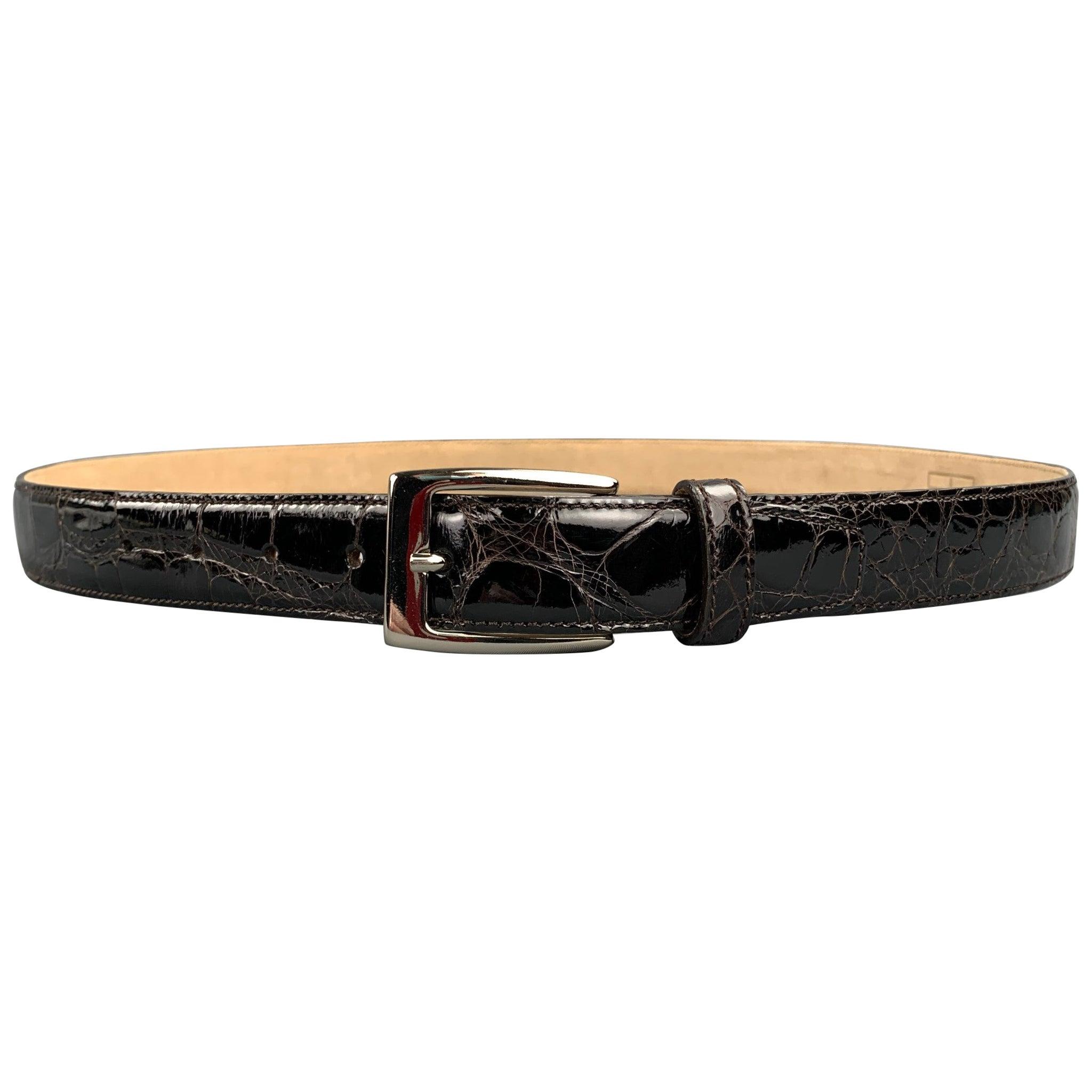 TARDINI Size 40 Black Textured Alligator Leather Belt