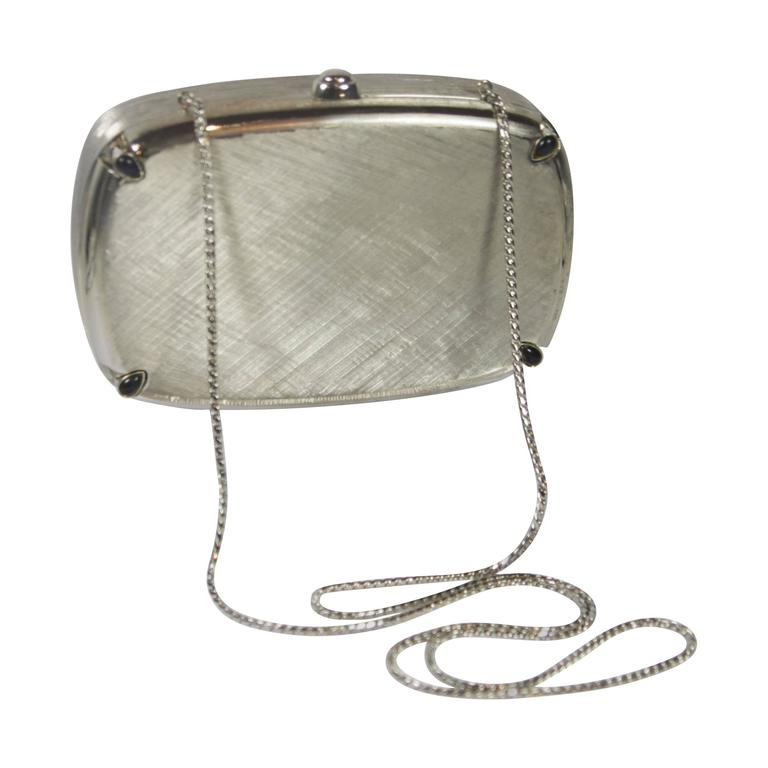 JUDITH LEIBER Brushed Metal Evening Purse with Stone Details Optional Strap