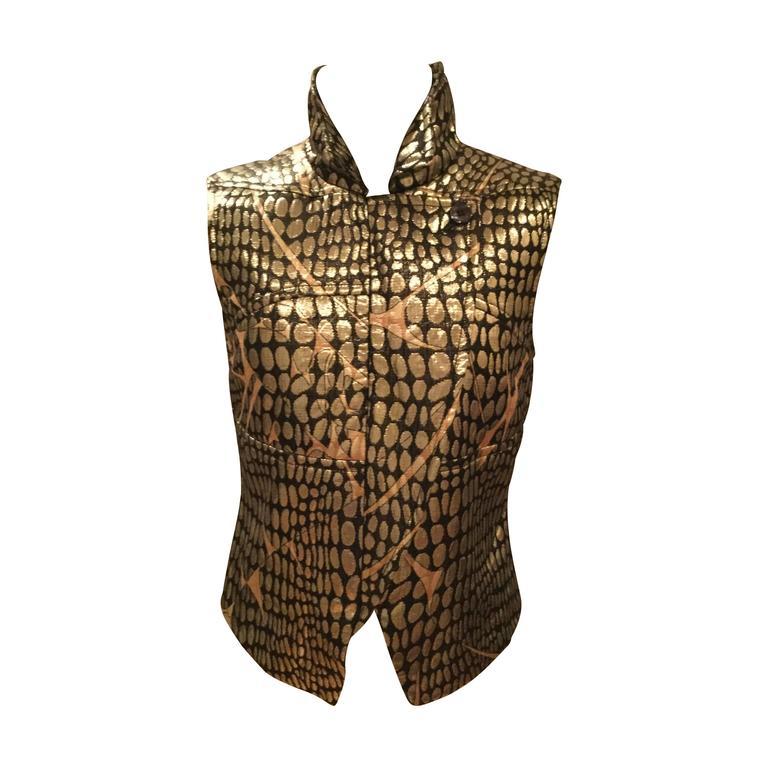 Pucci Silk Blend Gold Metallic Zippered Vest. Waistcoat.