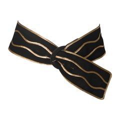 YVES SAINT LAURENT Black Suede Belt with Gold Applique Size Small Medium