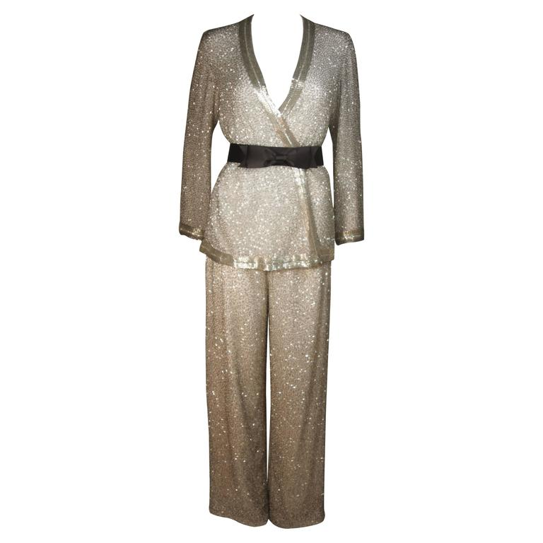 Silver and White Silk Beaded Pant Suit with Palazzo Pants Size ...