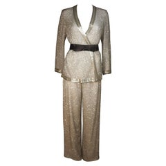 Silver and White Silk Beaded Pant Suit with Palazzo Pants Size Medium Large