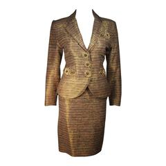 ZANDRA RHODES Metallic Raw Silk Skirt Suit with Applique Size 8