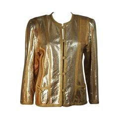 AMEN WARDY Gold Metallic Foiled Snakeskin Jacket with Knit Detailing Size M L