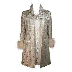 FONTANA ROMA White and Silver Metallic Twill Dress Coat Set with Fox Trim Small
