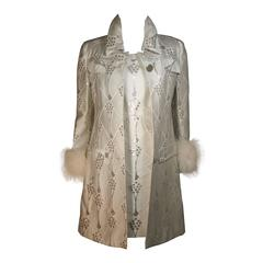 FONTANA ROMA White and Silver Metallic Twill Dress Coat Set with Fox Trim Small