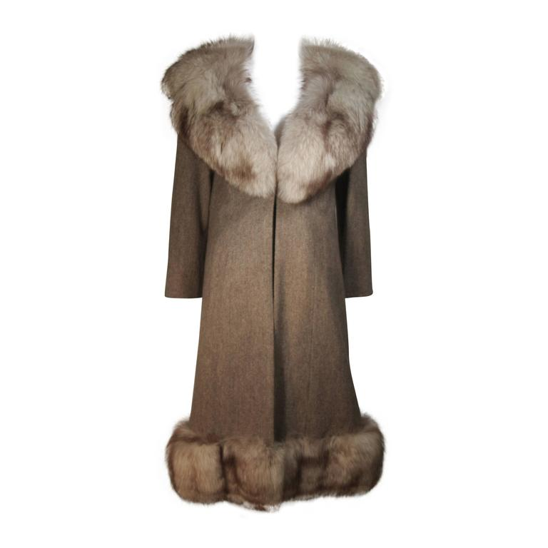 NOLAN MILLER Brown Wool Coat and Skirt Ensemble with Fox Fur Trim Size 4 6