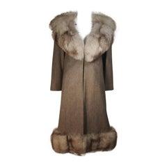 NOLAN MILLER Brown Wool Coat and Skirt Ensemble with Fox Fur Trim Size 4 6