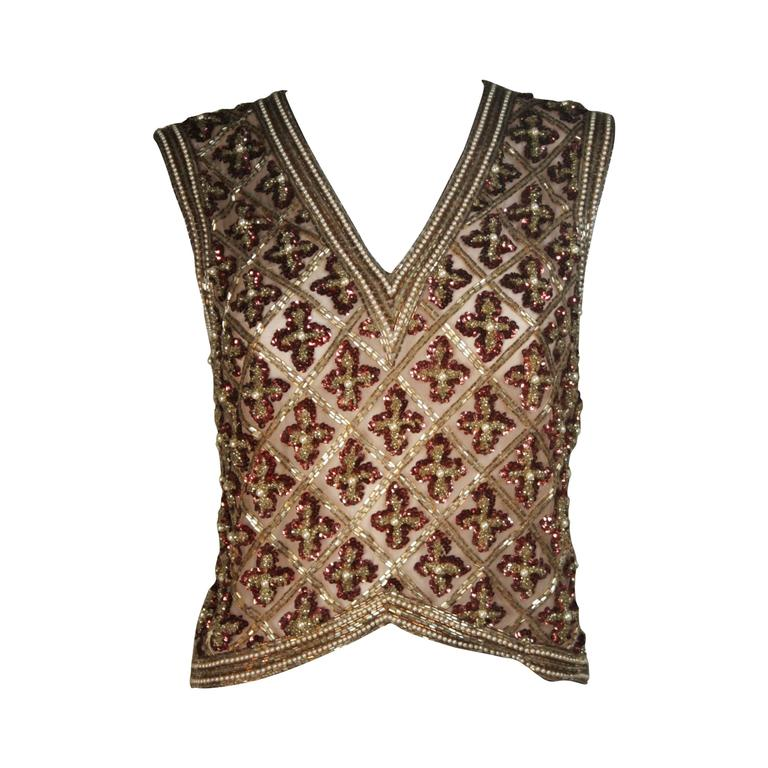 Attributed to GALANOS Gold and Burgundy Relief Beaded Blouse Size Small Medium 1