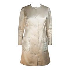 SHEDLOCK Ivory Silk Dress with Rhinestone Pocket Details Size Small Medium