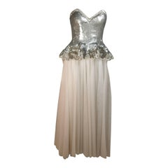 FABRICE NEW YORK COUTURE Silver Sequin Bustier Gown with Mesh Skirt Size Small