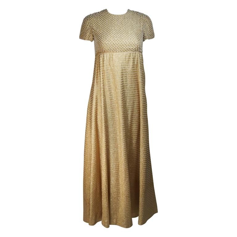 GEOFFREY BEENE 1960's Gold Lame Pearl Bodice Baby Doll Gown Size 2-4