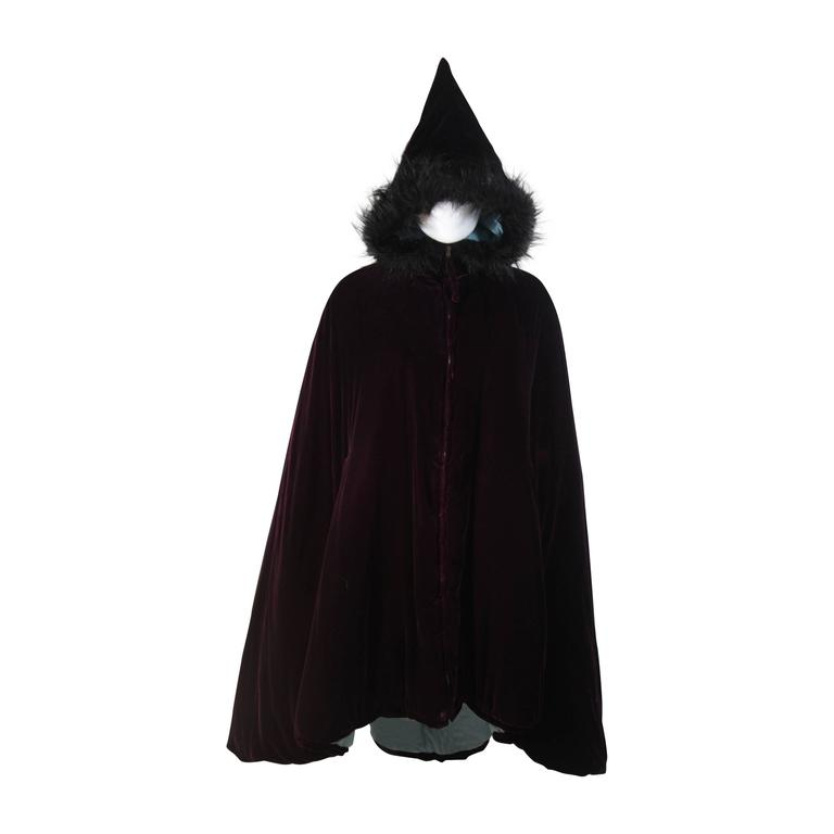 JEAN PAUL GAULTIER Purple Velvet Puff Cloak with Pointed Hood Size 42 For Sale