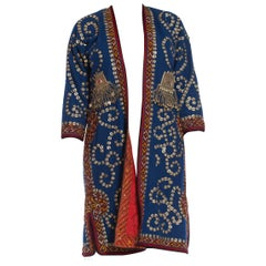 "1970S Blue Wool Central Eurasian Coat Hand Embroidered All Over With Metal ""Coin"