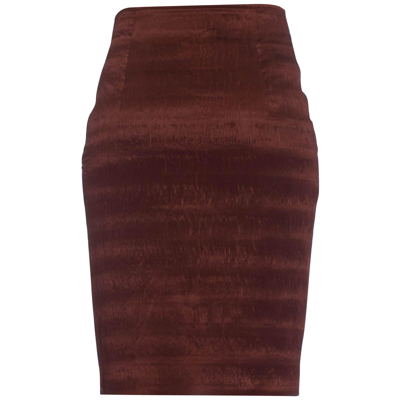 "1980S GENY Russet Brown Silk & Acetate Heat Set Micro ""Mushroom"" Pleated Skirt"
