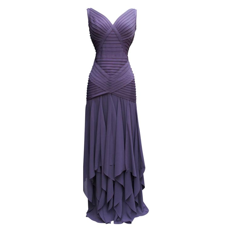 1990s Herve Leger Couture Purple Evening Gown