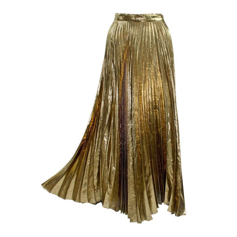 504bb147be Vintage Halston metallic Gold Accordion Pleat Skirt at 1stdibs