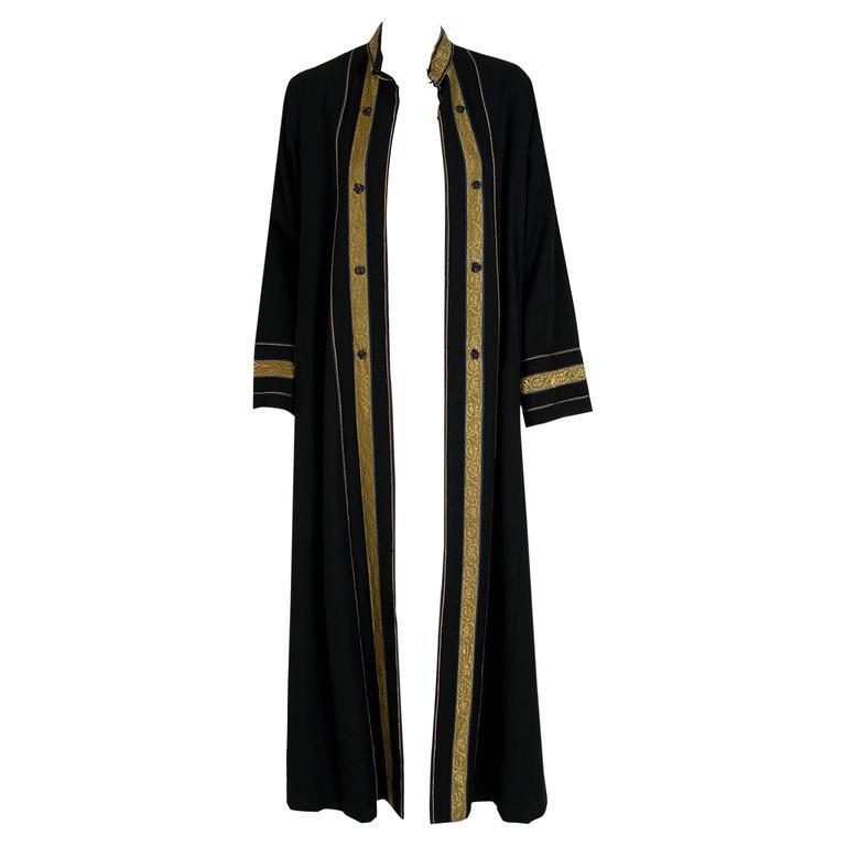1970's Thea Porter Black Cotton-Twill & Metallic Gold-Lame Bohemian Jacket Coat