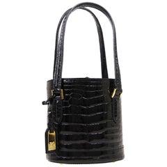 Louis Vuitton Black Crocodile Leather Exotic Top Handle Shoulder Small Mini Bag
