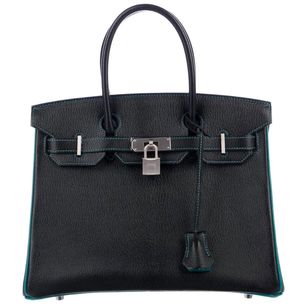 Hermes NEW Birkin 30 Special Black Teal Green Top Handle Satchel Tote Bag in Box
