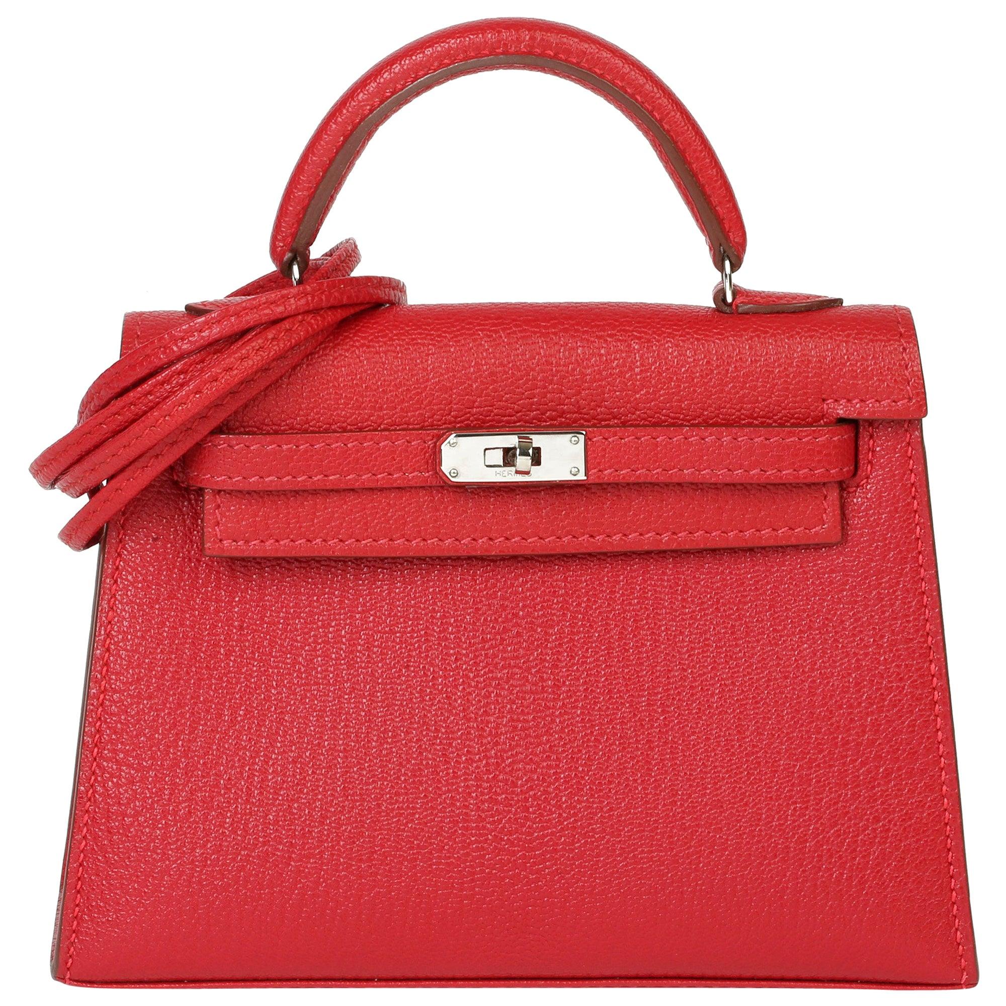 Hermès Rouge Casaque Chevre Mysore Leather Special Order HSS Kelly 15cm Sellier