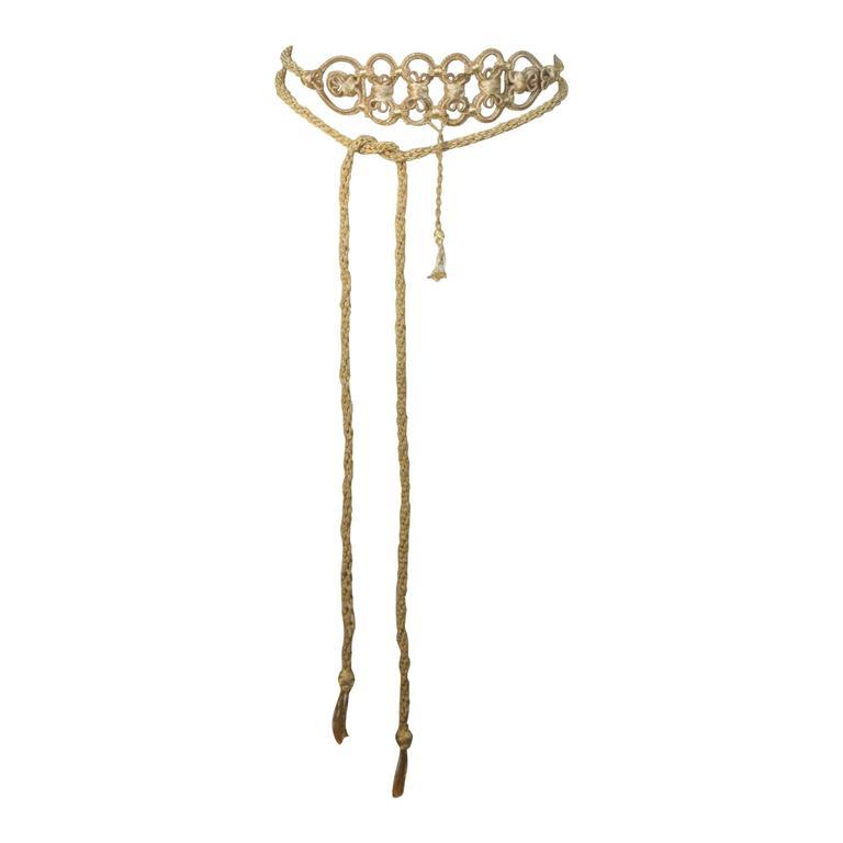 OSCAR DE LA RENTA Gold Metallic Braided Belt  1