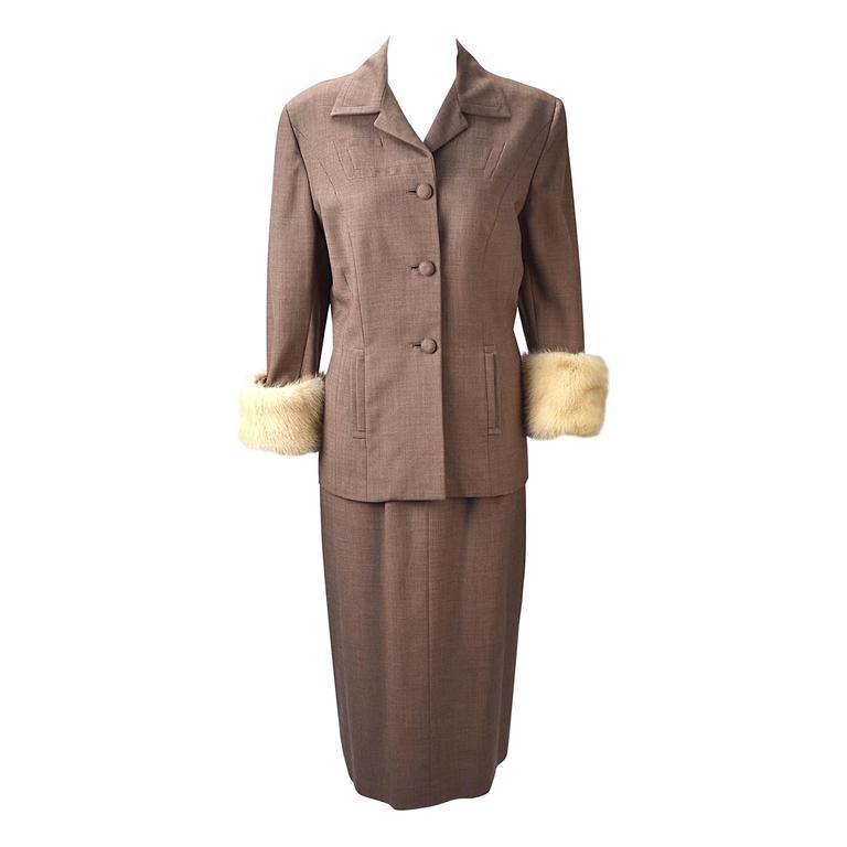 1950s Neiman Marcus Gabardine Tailored Skirt Suit with White Mink