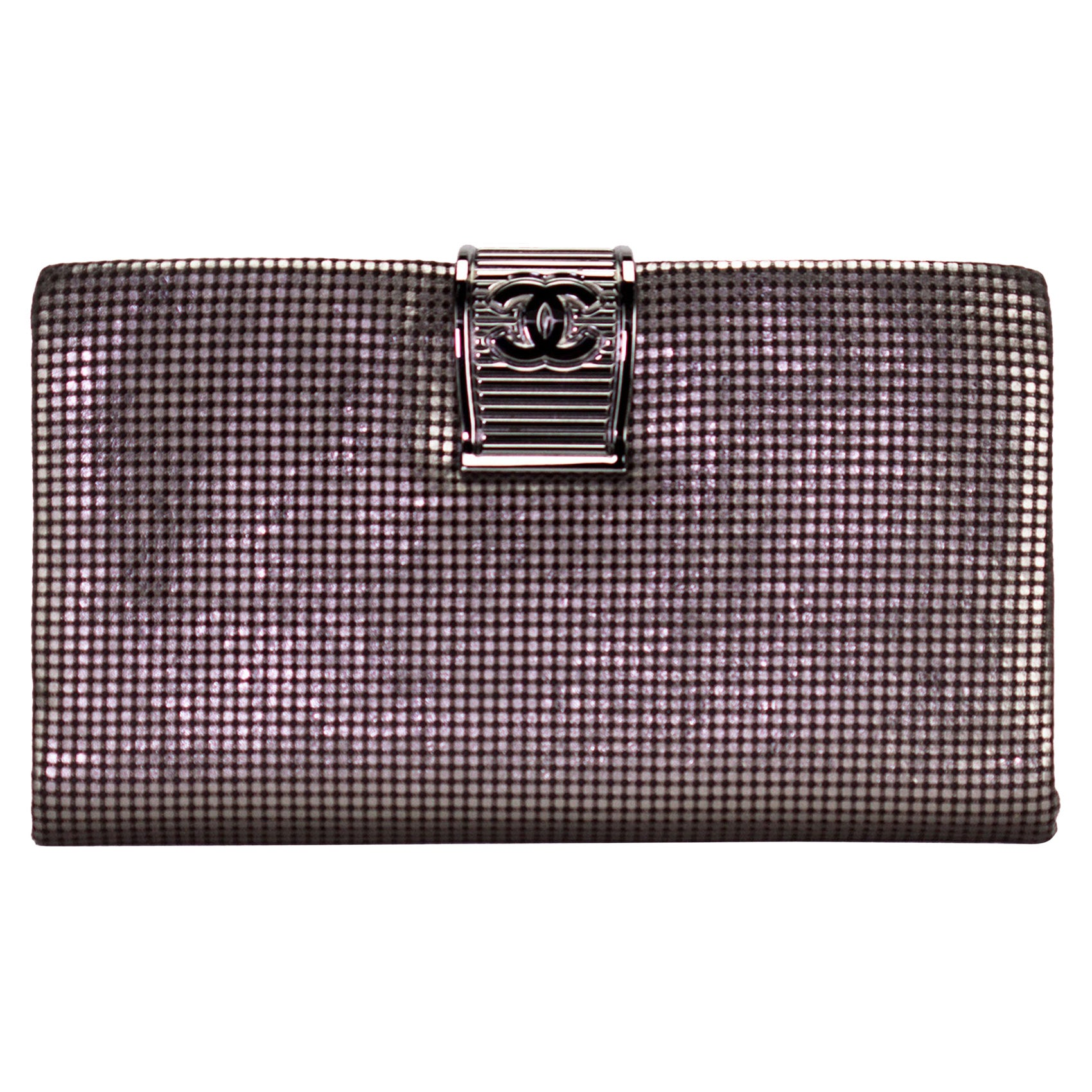 Chanel Laser Etched Metallic Clutch