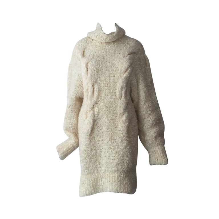1990s Audrey Daniels Boucle Cable Knit Sweater Dress in Ivory Wool 1